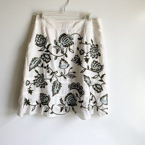 Ann Taylor Petite  Embroidered A Line Skirt